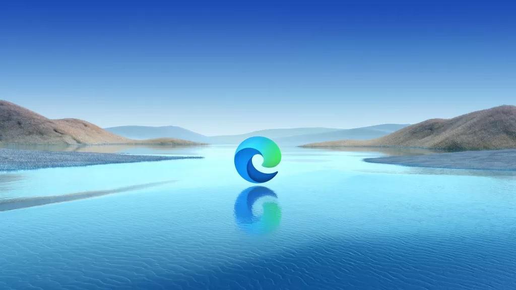 Microsoft Edge logo floating over a lake.