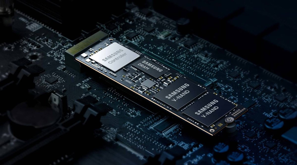 A Samsung M.2 SSD sloted into a motherboard.