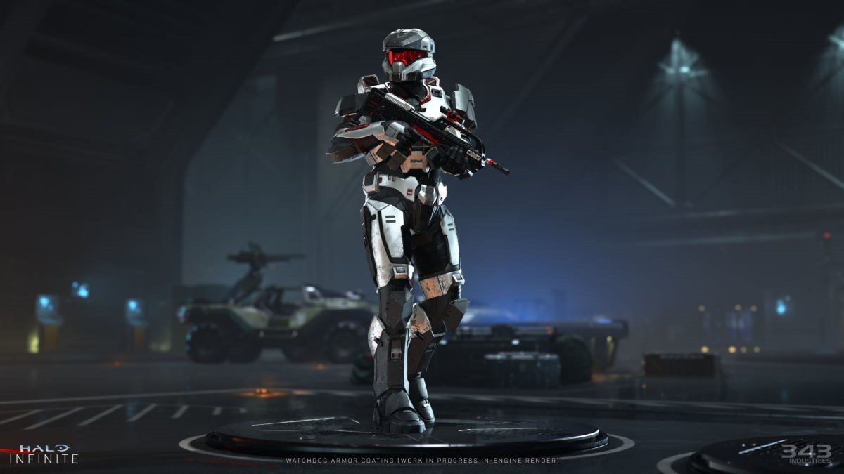 A Spartan from Halo Infinite with the Watchdog Armour coating.