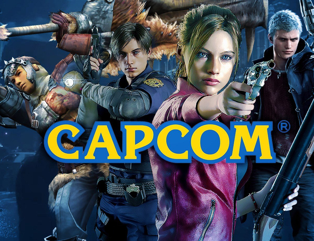 The Capcom logo over some of their games, with Leon and Claire from Resident Evil 2 Remake feature prominently.