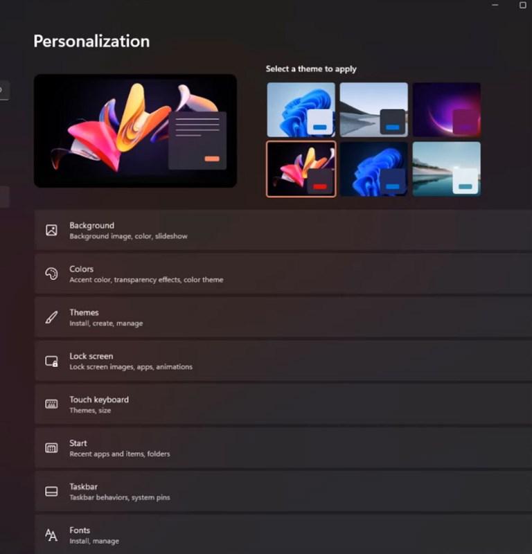 Personalisation menu in Windows 11 settings.