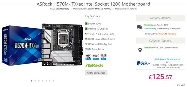 ASRock H570M-ITXac Motherboard.