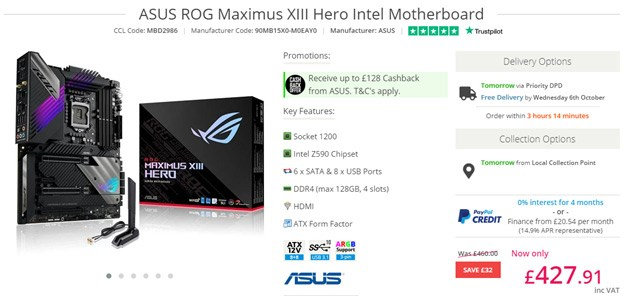 ASUS ROG Maximus XIII Hero Motherboard.