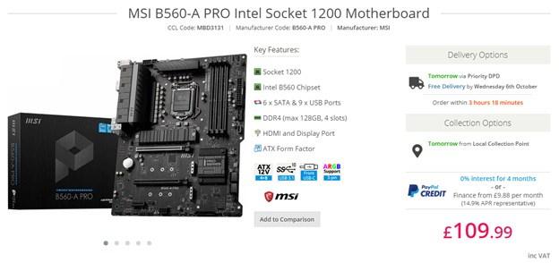 MSI B560-A PRO Motherboard.