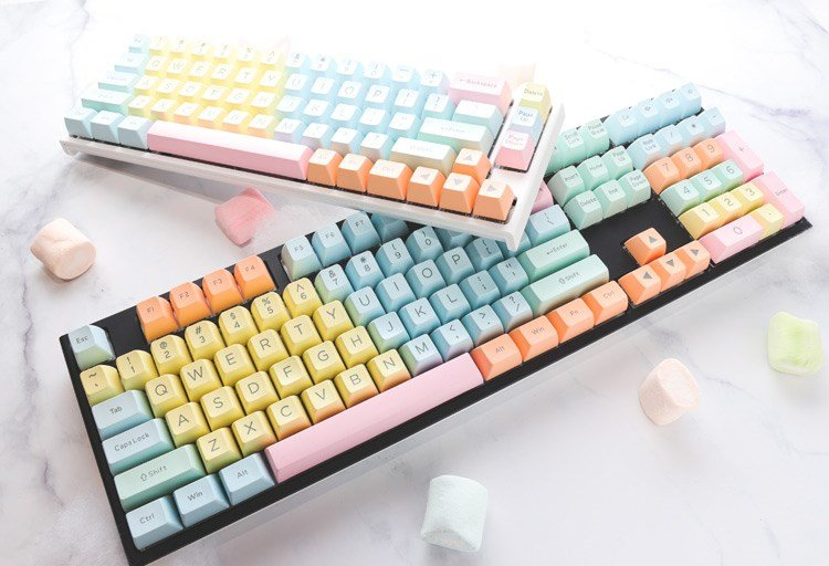 Cotton Candy coloured keycaps.