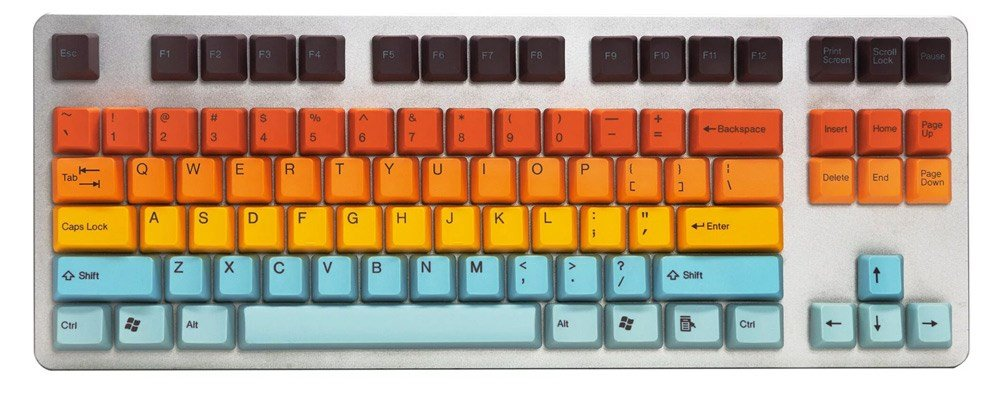 The Hawaii PBT Double Shot retro-style keycaps.