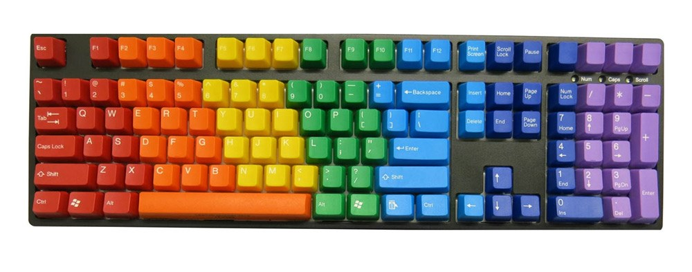Rainbow-coloured limited edition US keycaps from Tai-Hao.