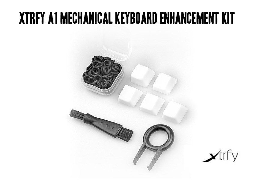 The Xtrfy A1 Keyboard Enhancement Kit, with caps, O-rings and keycap puller.