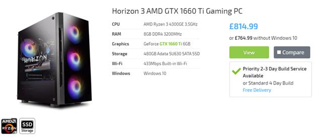 Horizon 5 AMD GTX 1660 Ti Gaming PC