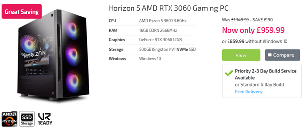 Horizon 5 AMD RTX 3060 Gaming PC