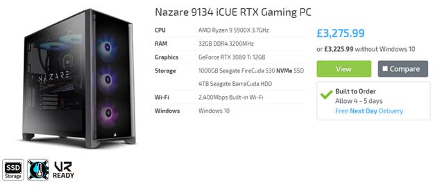 Nazare 9134 iCUE Gaming PC RTX 3080 Ti