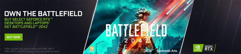 Own the Battlefield - Buy Select GeForce RTX Desktops and Laptops, get Battlefield 2042