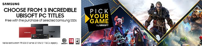 Choose from three incredible UbiSoft PC titles, free with the purchase of selected Samsung SSDs