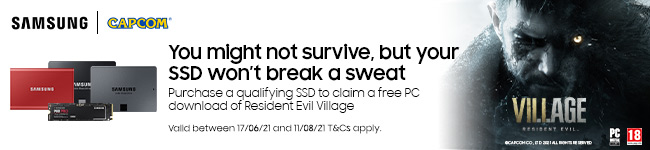 Resident Evil Village promotional banner for Samsung SSDs