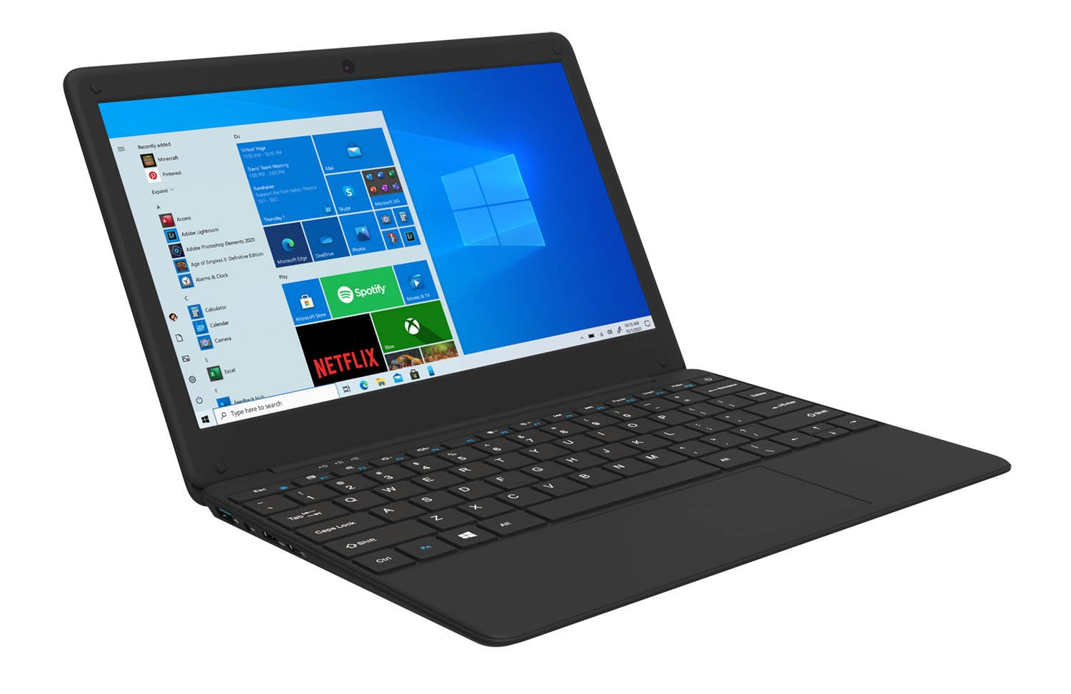 View of the GeoBook 2e laptop from the left side
