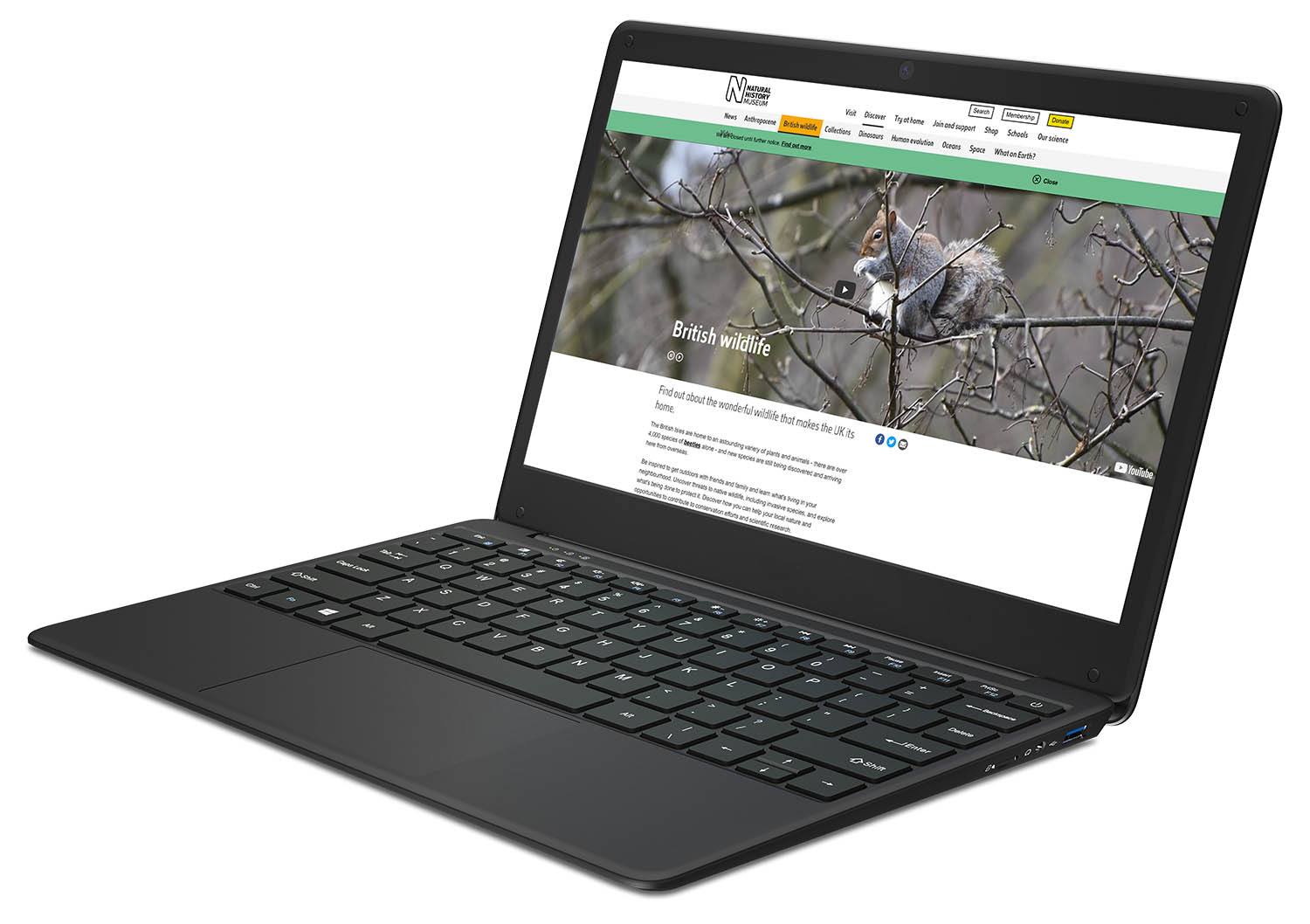 View of the GeoBook 2e laptop from the right side