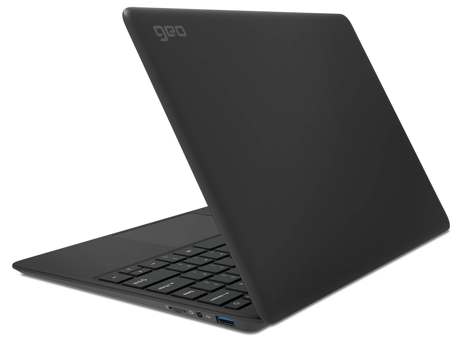 View of the GeoBook 2e laptop from the rear right side