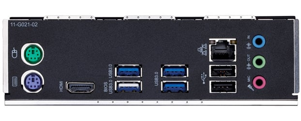 Rear output ports, showing two PS/2, a HDMI, four USB 3.0, two USB 2.0, one RJ-45, and three audio jacks