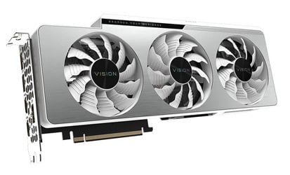 Angled profile of the Gigabyte GeForce RTX 3080 Ti VISION OC graphics card