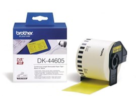 Brother DK Labels DK-44605 (62mm x 30.48m) Continuous Removable Paper Tape (Yellow) 1 Roll