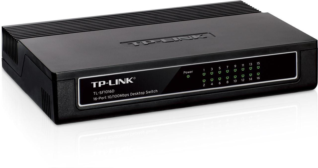 Gallery retail tp-link tl-sf1016d 16-port 10/100mbps desktop switch.