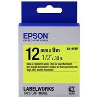 Epson LK-4YBF (12mm x 9m) Label Cartridge (Black on Fluorescent Yellow) for LabelWorks Label Makers