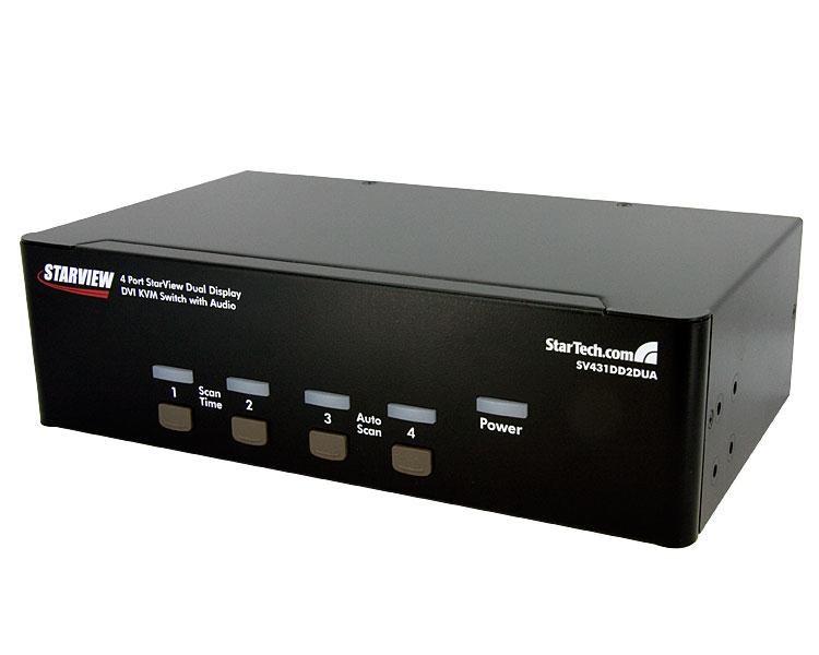 StarTech com 4-Port Dual DVI USB KVM Switch with Audio and