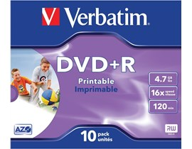Verbatim DVD+R 4.7GB 16x Wide Photo Printable ID Brand