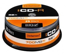 Intenso (700MB) 52x CD-R in Cakebox (Black/Orange) Pack of 25 Discs