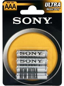 Sony R03NUB4A Ultra Battery AAA Carbon Zinc Batteries - 4 Pack