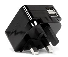 Veho USB 2 Port Foldable UK Mains Plug Adapter - 5V 2.1A