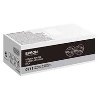 Epson 0711 High Yield Capacity Black Return Toner Cartridges (Yield 2500 Pages) Pack of 2 for WorkForce AL-M200 Series/AL-MX200 Series Mono Laser Printers