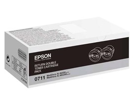 Epson 0710 High Yield Capacity Black Toner Cartridges (Yield 2500 Pages) Pack of 2 for WorkForce AL-M200 Series/AL-MX200 Series Mono Laser Printers