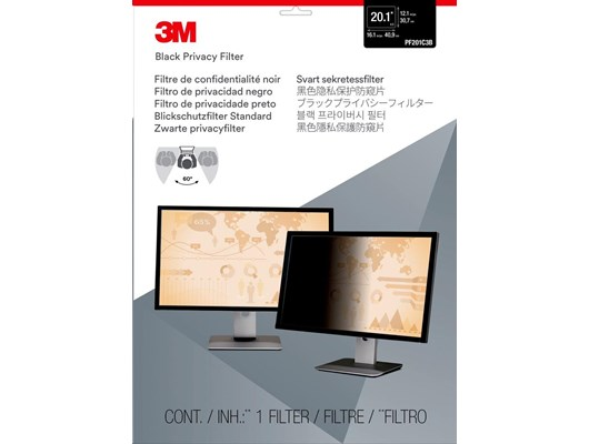 3M PF201C3B Frameless Black Privacy Filter for 20.1 inch Standard Monitors - 98044054116 / 7000006408