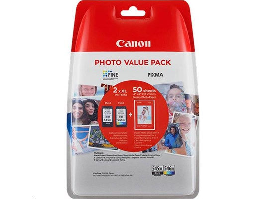 Canon PG-545XL/CL-546XL Multipack + 50 Sheets of Glossy 10 x 15cm Photo Paper (Pack of 2 Ink Cartridges + Photo Paper)