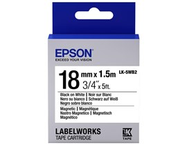 Epson LK-5WB2 (18mm x 1.5m) Magnetic Label Cartridge (Black on White) for LabelWorks Label Makers