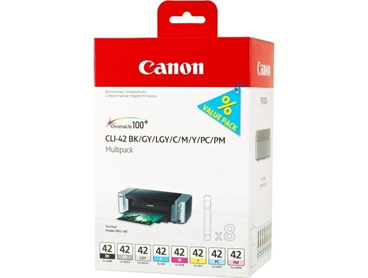 Canon CLI-42 (900 Black/600 Cyan/416 Magenta/284 Yellow/292 Photo Cyan/169 Photo Magenta/492 Grey/835 Light Grey Photos) Ink Cartridge Pack of 8