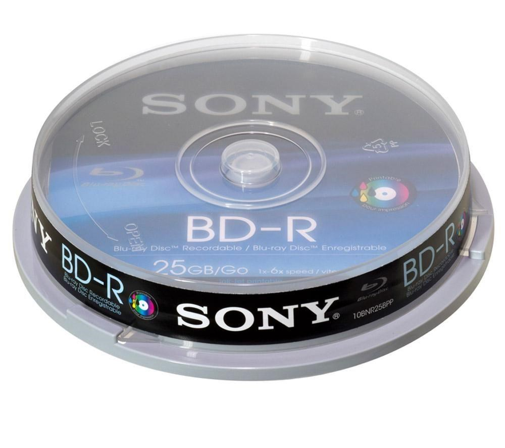 Sony Blu-ray Disc 25gb 6x  10 Pack  - Inkjet Printer Compatible