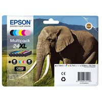 Epson Elephant 24XL High Capacity 6 Colour Multipack Ink Cartridge (Black, Cyan, Magenta, Yellow, Light Cyan, Light Magenta) for Epson Expression Photo Printers