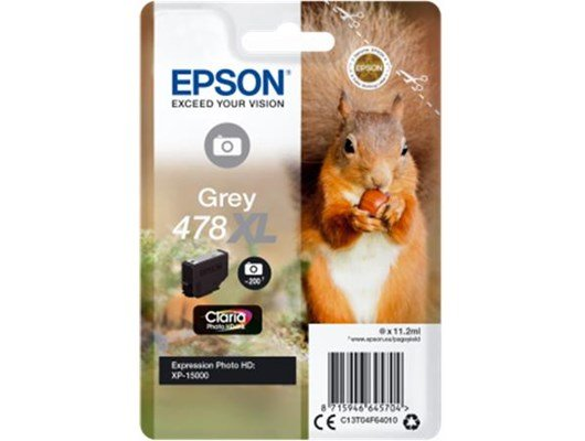 Epson Squirrel 478XL (11.2ml) Claria Premium Grey Ink Cartridge