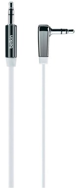Belkin 3.5mm Flat Right Angle Aux Cable 0.9m (White)