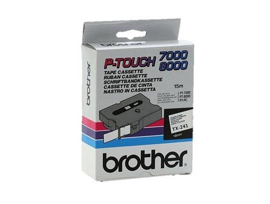 Brother P-touch TX-241 (18mm x 15m) Black On White Labelling Tape
