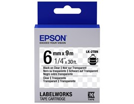 Epson LK-2TBN (6mm x 9m) Label Cartridge (Black on Transparent) for LabelWorks Label Makers