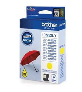 Brother LC-225XLY (Yield: 1,200 Pages) Yellow Ink Cartridge