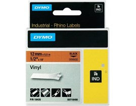 Dymo (12mm) Black on Orange Vinyl Tape