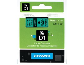 Dymo 9mm D1 Gloss Tape (Black on Green) for Dymo 1000/2000/3500/4500/5000/5500