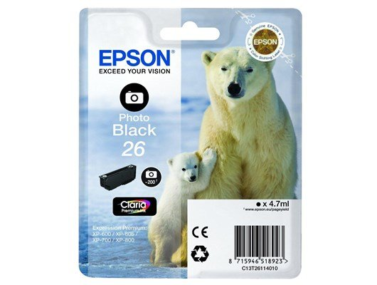 Epson Polar Bear 26 (4.7ml) Photo Black Claria Premium Ink Cartridge (RF) for Expression Premium XP-600/XP-605/XP-700/XP-800 All-in-One Inkjet Printers