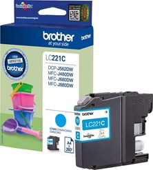 Brother LC-221C (Yield: 260 Pages) Cyan Ink Cartridge