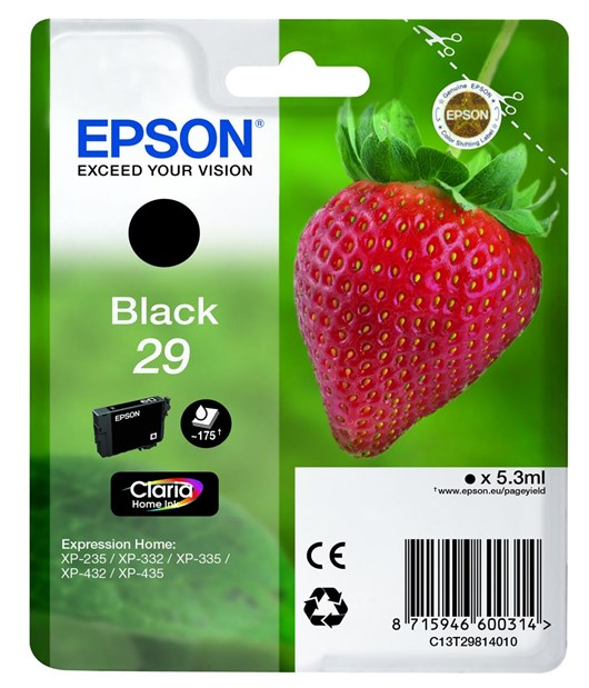 Epson Strawberry 29 (5.3 ml) Claria Home Black Ink Cartridge (Blister Pack) for Expression Home XP-235/XP-432/XP-332/XP-435/XP-335 Printers