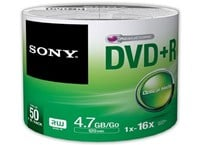 Sony DVD+R 4.7GB 16X Spindle (Pack of 50)